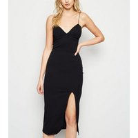 Black Split Hem Midi Bustier Bodycon Dress New Look