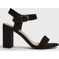Black Suedette Ankle Strap Block Sandals New Look Vegan