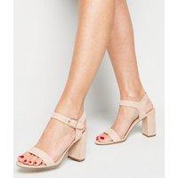 Pale Pink Suedette Ankle Strap Block Sandals New Look Vegan