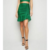 Green Spot Ruched Side Mini Skirt New Look