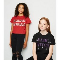 Girls Red Halloween Squad Ghouls Slogan T-Shirt New Look