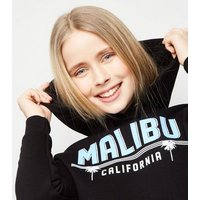 Girls Black Malibu Slogan Hoodie New Look