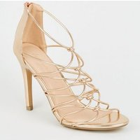 Rose Gold Knot Front Strappy Stiletto Heels New Look