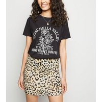 Petite Brown Leopard Print Tube Skirt New Look