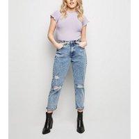 Petite Lilac Ribbed Frill Trim T-Shirt New Look