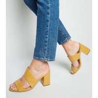 Wide Fit Yellow Faux Croc Mules New Look