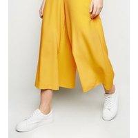 Mustard Wide Leg Crop Trousers New Look