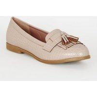 Pale Pink Faux Croc Tassel Loafers New Look Vegan