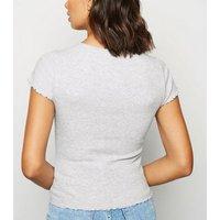 Grey Marl Ribbed Frill Trim Crop T-Shirt New Look