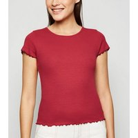 Dark Red Ribbed Frill Trim Crop T-Shirt New Look