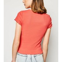 Coral Ribbed Frill Trim Crop T-Shirt New Look