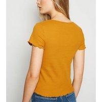 Mustard Ribbed Frill Trim Crop T-Shirt New Look