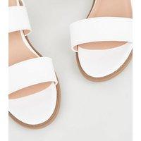 Girls White Leather-Look Low Block Sandals New Look Vegan