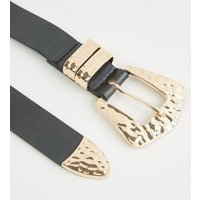 Black Leather-Look Hammered Western Belt New Look