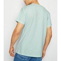 Mens Mint Green Palm Spring Slogan T-Shirt New Look
