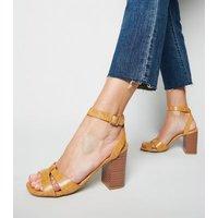 Yellow Faux Croc 2 Part Block Heels New Look