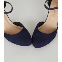 Wide Fit Navy Suedette 2 Part Court Shoes New Look Vegan