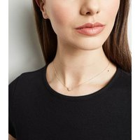 Gold Diamante Mini Heart Pendant Necklace New Look
