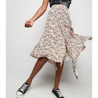 White Floral Hanky Hem Midi Skirt New Look