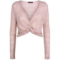 Pink Pointelle Fine Knit Twist Front Top New Look