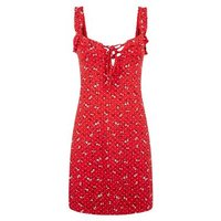 Cameo Rose Red Ditsy Floral Frill Sundress New Look