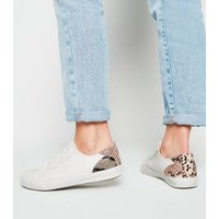 Wide Fit White Faux Snake Heel Trainers New Look