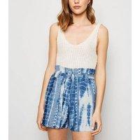 Blue Vanilla Blue Tie Dye Paperbag Shorts New Look