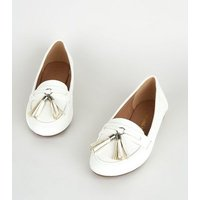 Wide Fit White Tassel Trim Loafers New Look