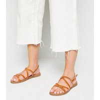 Wide Fit Tan Strappy Footbed Sandals New Look