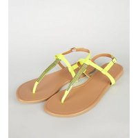 Wide Fit Green Neon Bar Strap Sandals New Look
