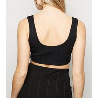 Black Ribbed Crop Top New Look