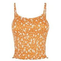 Light Brown Shirred Floral Cami New Look