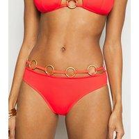Coral Neon Multi Ring Hipster Bikini Bottoms New Look
