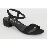 Wide Fit Black Suedette Low Block Heels New Look