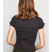 Black Pointelle Frill Trim T-Shirt New Look