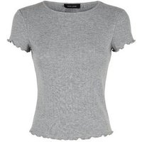 Grey Marl Pointelle Frill Trim T-Shirt New Look