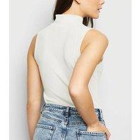 Cream Ribbed Ring Zip Turtleneck Bodysuit New Look