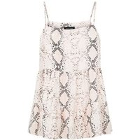 Pink Snake Print Tiered Cami New Look