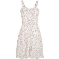 Off White Ditsy Floral Frill Trim Mini Sundress New Look