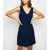 Navy Linen Look Belted Pinafore Dress New Look