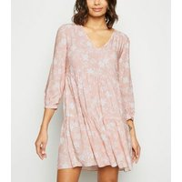 Pink Floral Frill Neck Smock Dress New Look