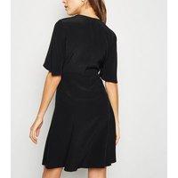 Black Frill Sleeve Button Up Tea Dress New Look