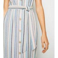 Blue Stripe Linen Look Button Up Midi Dress New Look