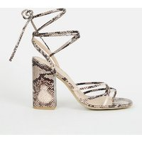 Stone Faux Snake Ankle Tie Strappy Heels New Look