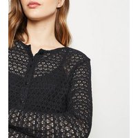 Black Pointelle Fine Knit Cardigan New Look