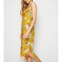 Mustard Tropical Print Linen Blend Midi Dress New Look