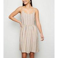 White Stripe Linen Look Smock Sundress New Look