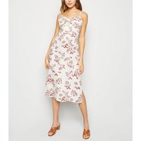 White Leaf Print Linen Blend Tie Front Midi Dress New Look