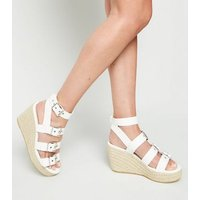 White Buckle Strap Espadrille Wedges New Look