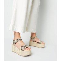 Stone Faux Snake Espadrille Flatform Sandals New Look